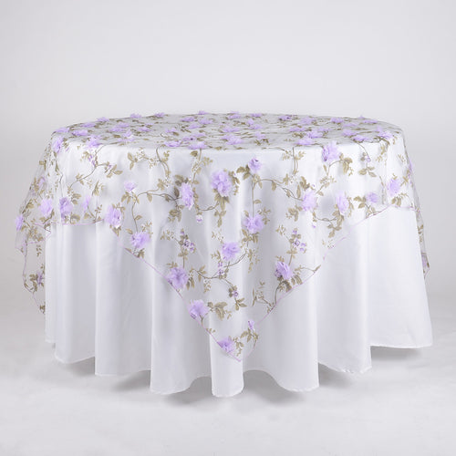 Lavender - 72 x 72 Inch Organza with 3D Roses Table Overlay