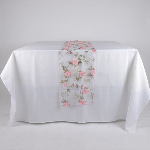 Pink - 14 x 108 Inch Organza with 3D Roses Table Runner