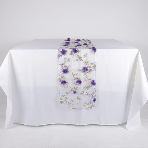 Purple - 14 x 108 Inch Organza with 3D Roses Table Runner