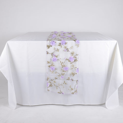 Lavender - 14 x 108 Inch Organza with 3D Roses Table Runner