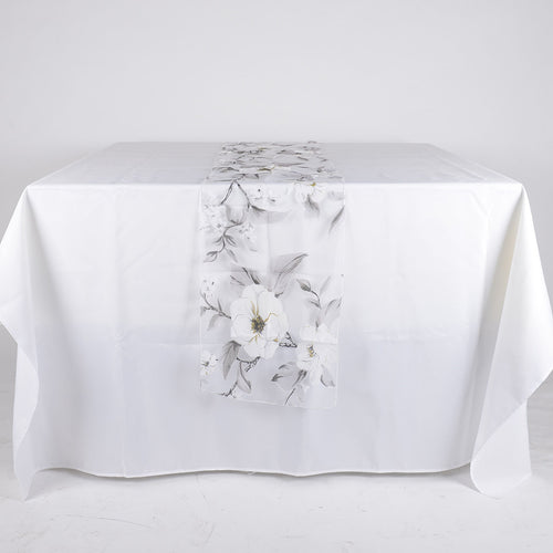 White Organza with Flower Print Table Runner