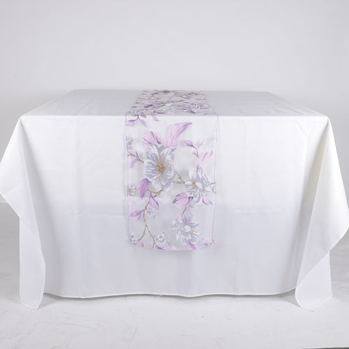 Lavender - 14  x 108 Inch Organza with Flower Print Table Runner