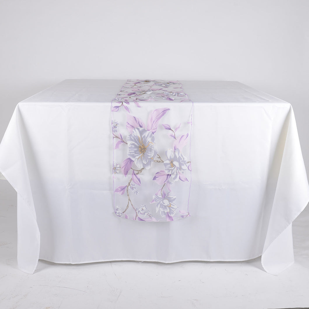 Lavender Organza with Flower Print Table Runner