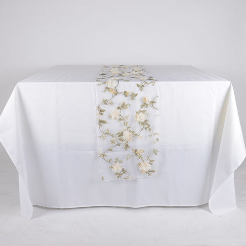 Ivory - 14 x 108 Inch Organza with 3D Roses Table Runner