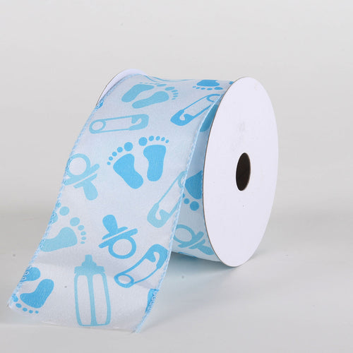 Blue Baby Print Satin Wired Ribbon 2.5''x10yds