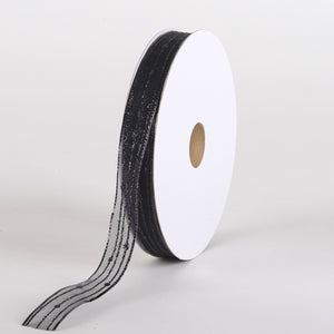 Glitter Corsage Ribbon Black with Black Line - ( 5/8 Inch 50 Yards )
