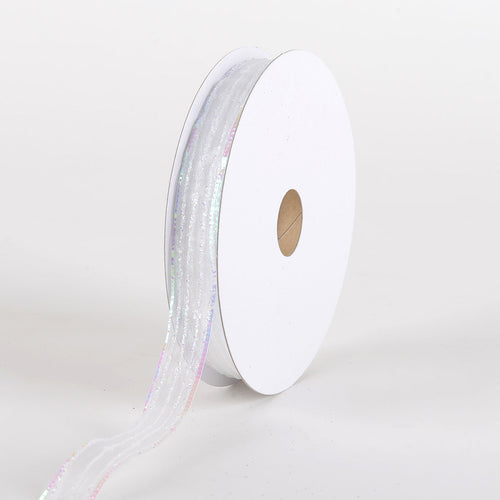 Glitter Corsage Ribbon White Iridescent Line - ( 5/8 Inch 50 Yards )
