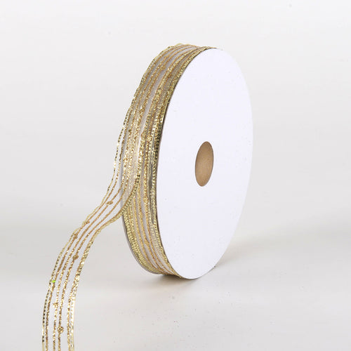 Glitter Corsage Ribbon White with Gold Line - ( 5/8 Inch 50 Yards )