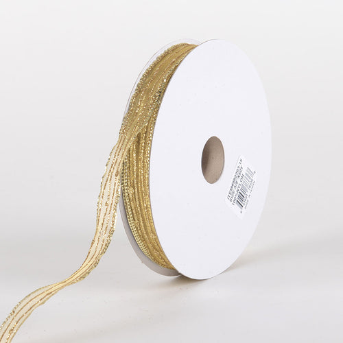 Glitter Corsage Ribbon Old Gold - ( 5/8 Inch 50 Yards )