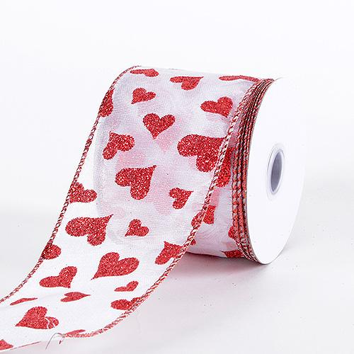 Valentine Ribbon Red Hearts ( 2-1/2 Inch x 10 Yards ) - YCI67-0250-R001