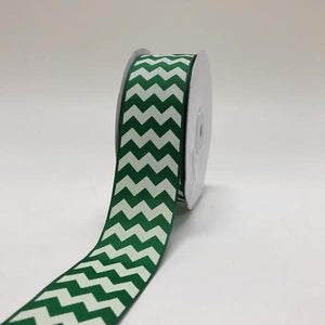 Emerald - Chevron Design Grosgrain Ribbon ( 1-1/2 inch | 25 Yards )