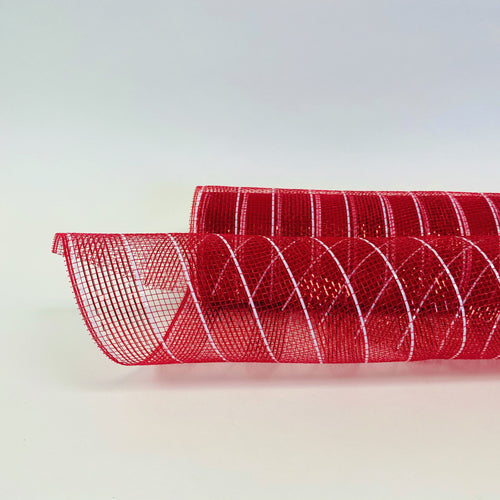 Red - Poly Deco Mesh Wrap with Laser Mono Stripe ( 21 Inch x 10 Yards )