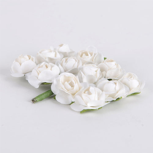12 Paper Flowers White Paper Rose Flowers (12x12)