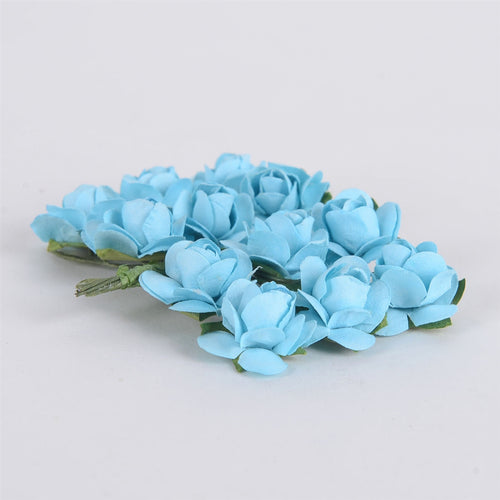 12 Paper Flowers Light Blue Paper Rose Flowers (12x12)
