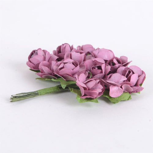 12 Paper Flowers Mauve Paper Rose Flowers (12x12)