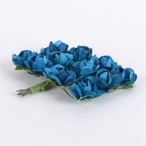 12 Paper Flowers Dark Turquoise Paper Rose Flowers (12x12)