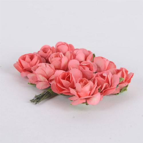 12 Paper Flowers Coral Paper Rose Flowers (12x12)