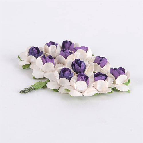 12 Paper Flowers Ivory w. Purple Paper Rose Flowers (12x12)
