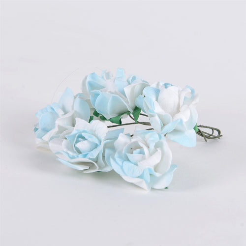 12 Paper Flowers White w. Blue Paper Flowers (6x12)