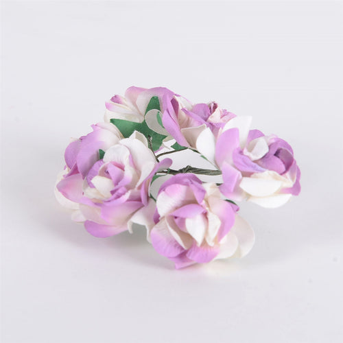 12 Paper Flowers Ivory w. Purple Paper Flowers (6x12)