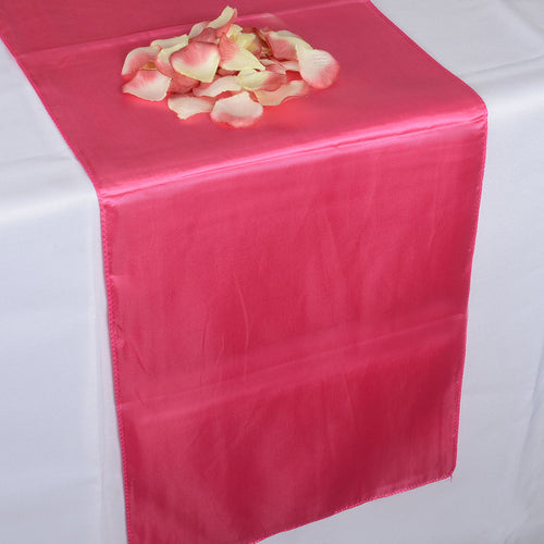 12 inch x 108 inches Fuchsia Satin Table Runner