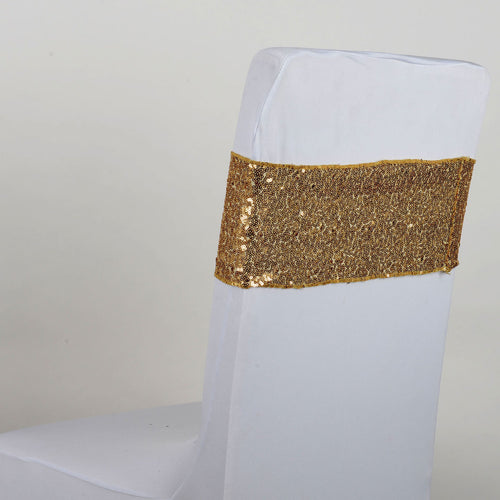Sequin Chair Sash - Gold  5 pieces