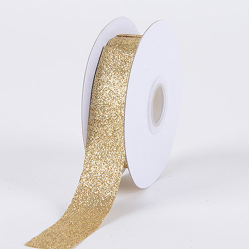 Old Gold - Metallic Glitter Ribbon - ( 5/8 Inch 25 Yards )