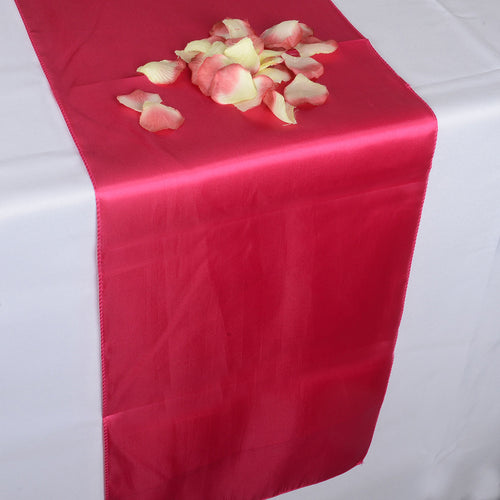12 inch x 108 inches Hot Pink Satin Table Runner