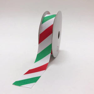 White Red Green Melt Edge Tree Color Grosgrain Christmas Ribbon - (7/8''x25yds) - GG070MP1