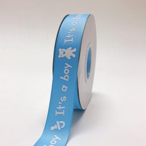 Blue - It's a boy - Grosgrain Ribbon Baby  Design ( W: 7/8 inch | L: 25 Yards )
