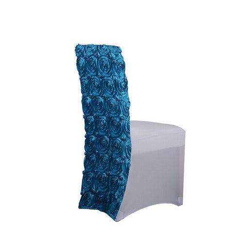 Turquoise - Rosette Spandex Chair Cover