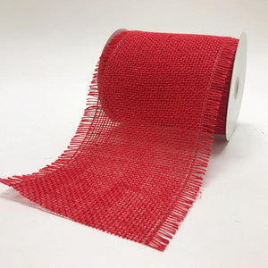 Red - Frayed Edge Burlap Wired Edge - ( 5-1/2 Inch | 10 Yards )