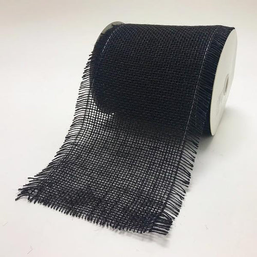 Black - Frayed Edge Burlap Wired Edge - ( W: 5-1/2 Inch | L: 10 Yards )