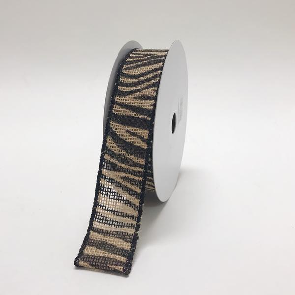 Animal Printed Jute Ribbons Zebra ( W: 1-1/2 inch | L: 10 Yards )