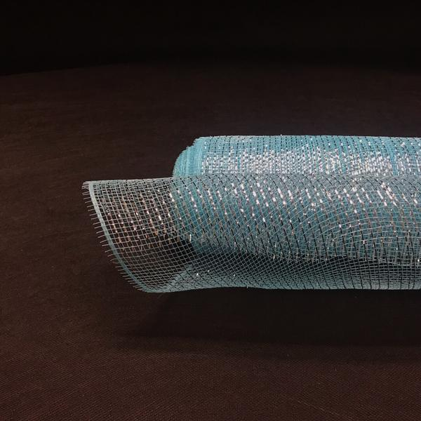 Light Blue with Silver Metallic Laser Christmas Mesh - 21 Inch x 10 Yards