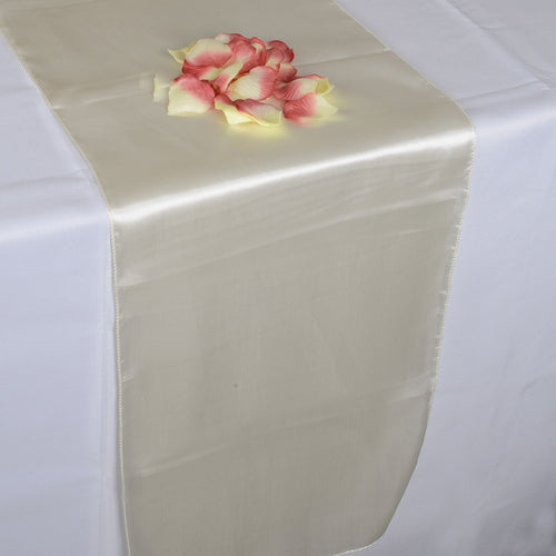 12 inch x 108 inches Ivory Satin Table Runner