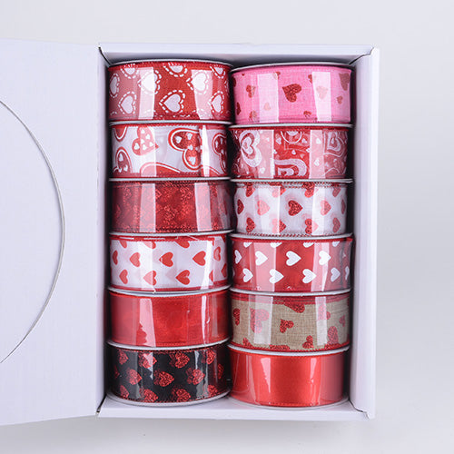 Valentine Ribbon Assorted Color ( 1-1/2 Inch - 12 Rolls ) - JS14901