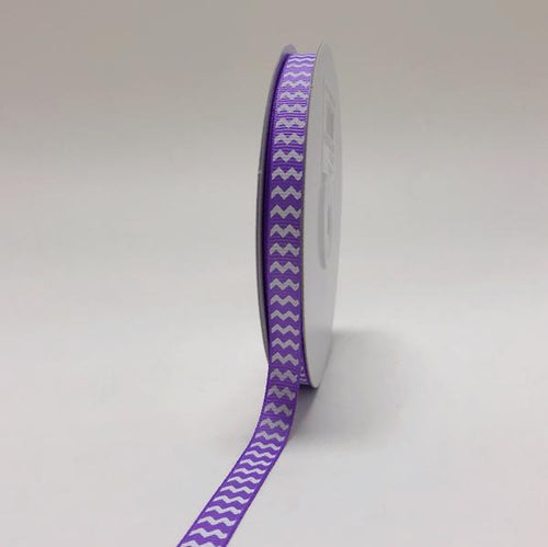 Lavender - Chevron Design Grosgrain Ribbon ( 3/8 inch | 25 Yards )