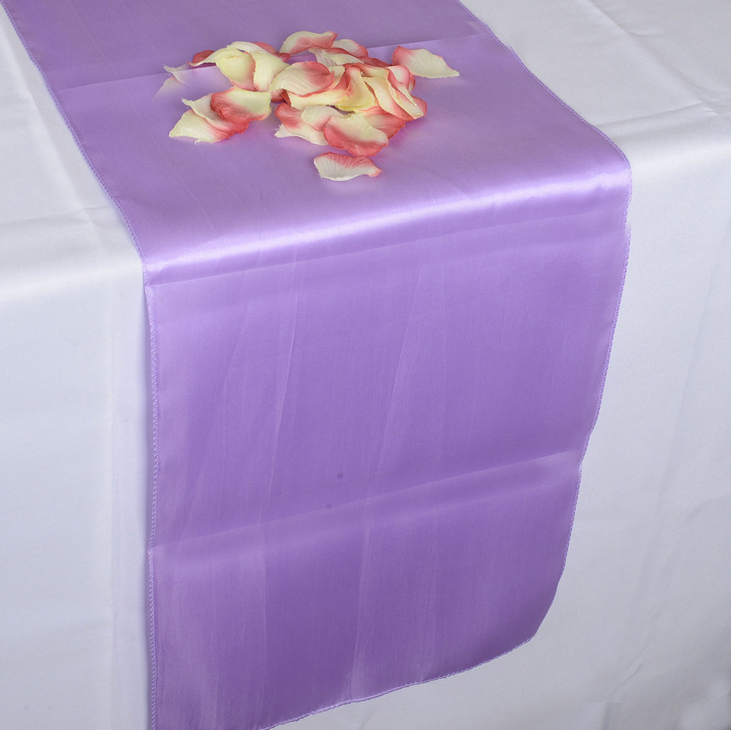 12 inch x 108 inches Lavender Satin Table Runner