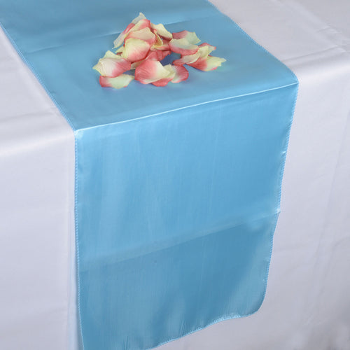 12 inch x 108 inches Light Blue Satin Table Runner