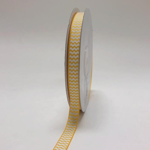 Light Gold - Chevron Design Grosgrain Ribbon ( 3/8 inch | 25 Yards )