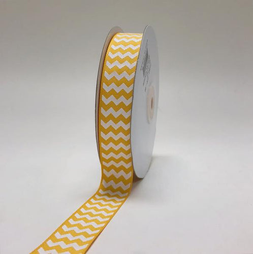Light Gold - Chevron Design Grosgrain Ribbon ( 7/8 inch | 25 Yards )