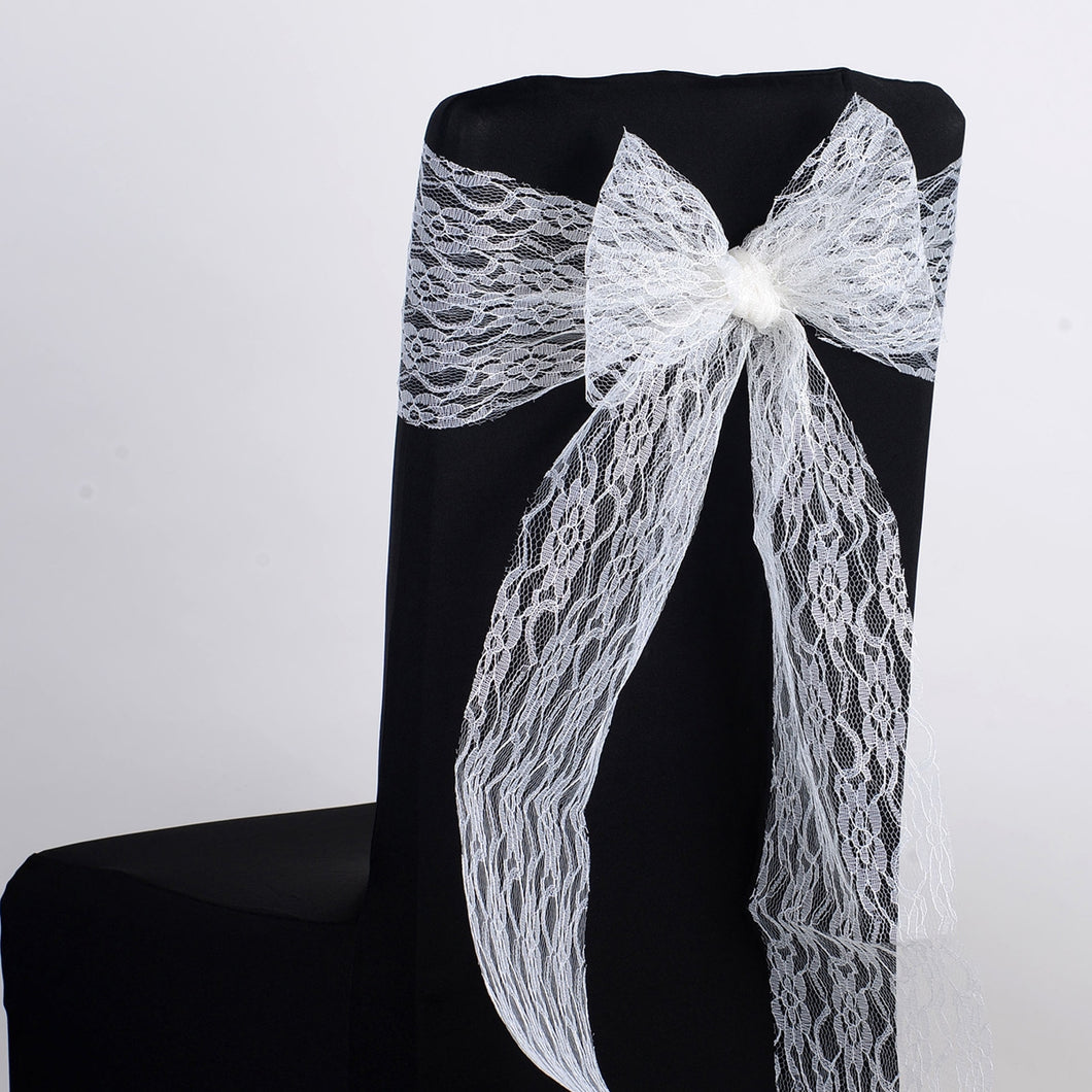 7 inch x 106 inches Ivory Lace Chair Sashes
