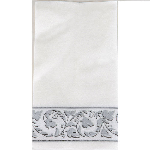 White With Grey Border Party Pack Buffet Napkins 24pcs