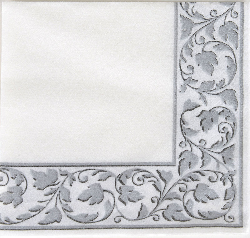 White With Grey Border Party Pack Beverage Napkins 24pcs