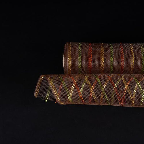 Brown with Multi Color Lines  - Holiday Floral Mesh Wraps - ( 10 Inch x 10 Yards )