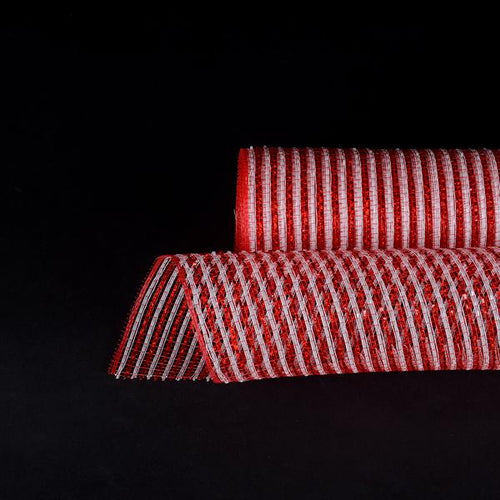 White Red Metallic Stripes Christmas Mesh - 21 Inch x 10 Yards