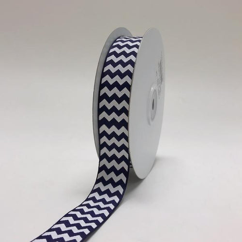 Navy Blue - Chevron Design Grosgrain Ribbon ( 7/8 inch | 25 Yards )