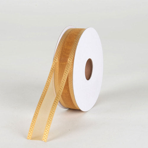 Old Gold - Organza Check Edge Ribbon - (  7/8 Inch | 25 Yards  )