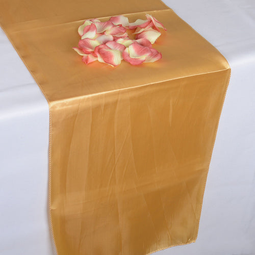 12 inch x 108 inches Old Gold Satin Table Runner